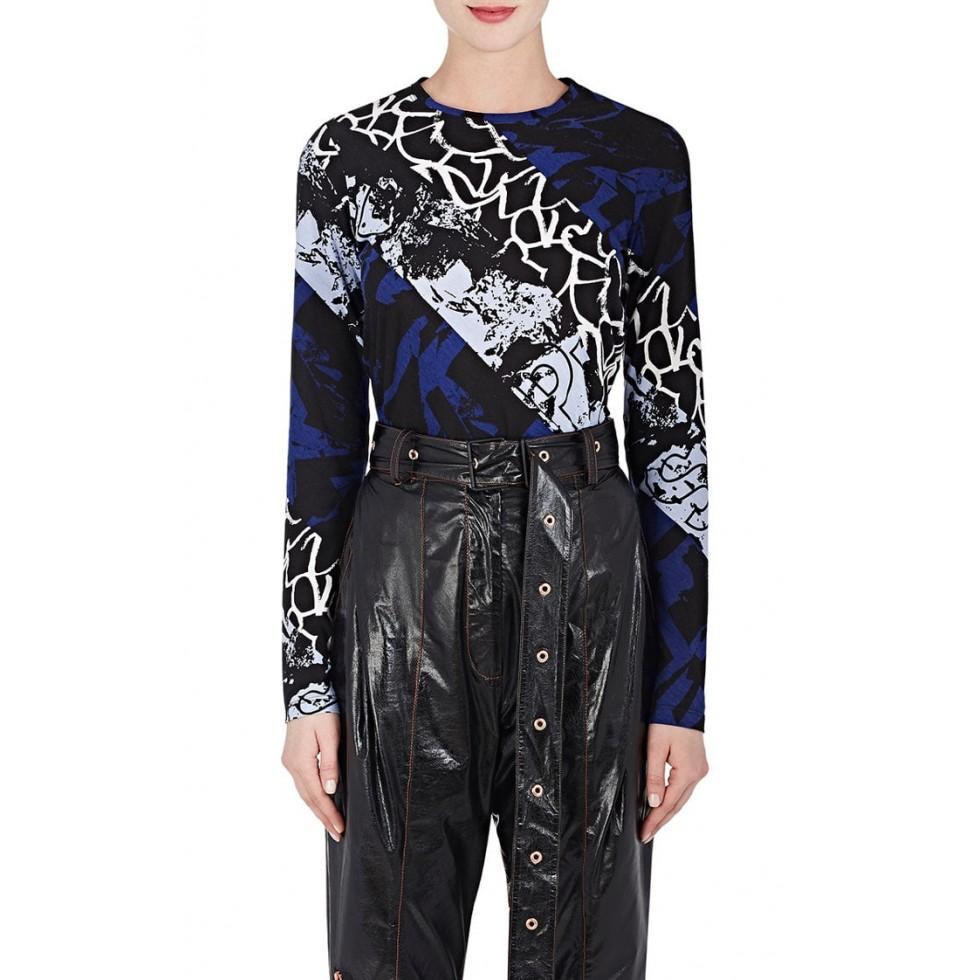 Mixed print cotton long sleeve t shirt blue filuca v for Long sleeve t shirt printing