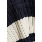 Striped V-Neck Pullover Sweater, White