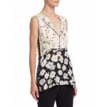 Silk Floral-Print Top, Ecru