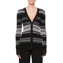 V-Neck Multi-Stripe Cardigan Sweater, Black