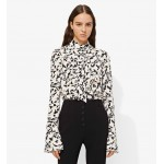 Long sleeve ruffled top, ecru