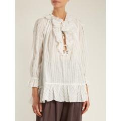 Corsair ruffled pinstriped cotton-blend blouse, White