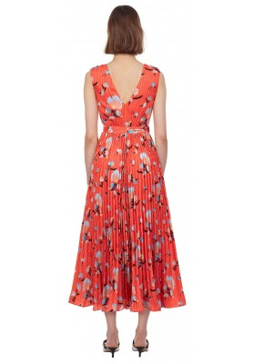 Botanical sleeveless dress, red