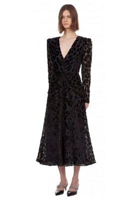 Metallic leopard midi dress, Black/navy
