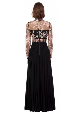 Midnight floral mesh maxi dress