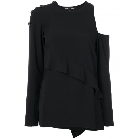 Asymmetric button detail top, Black